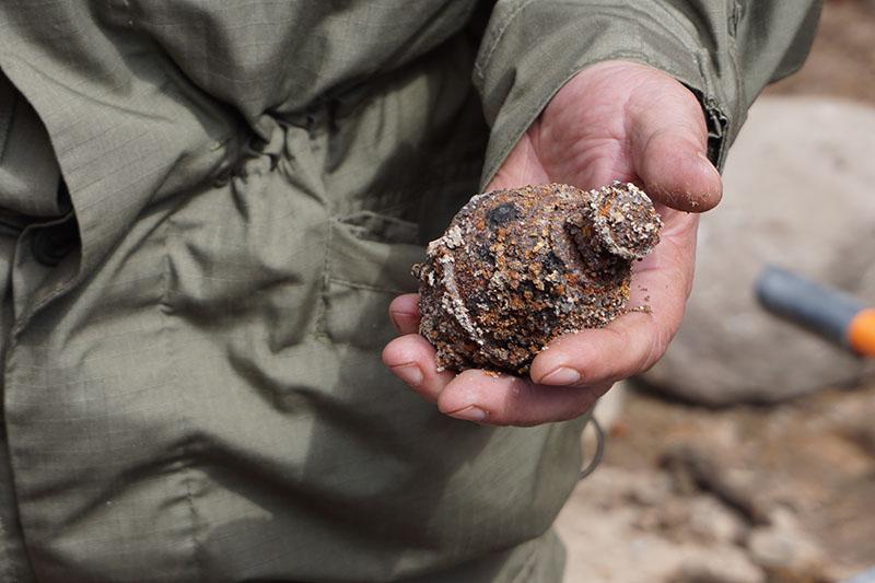 Уподножия Кремлевской стены вВеликом Новгороде археологи обнаружили неразорвавшуюся гранату