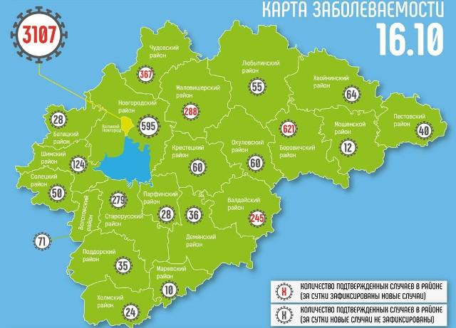 Лидерами по новым случаям COVID-19 за сутки стали Великий Новгород и Валдайский район