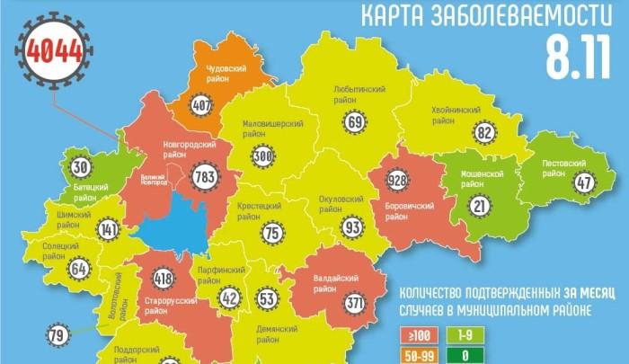 Почти половина новых случаев COVID-19 за сутки пришлась в регионе на Великий Новгород