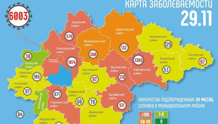 В Новгородской области новые случаи коронавируса зарегистрированы в 12 муниципалитетах