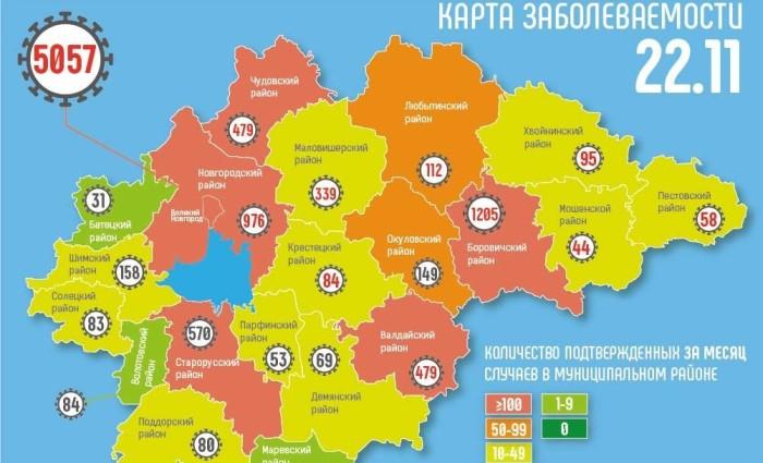 В половине муниципалитетов Новгородской области зарегистрировали за сутки новые случаи коронавируса