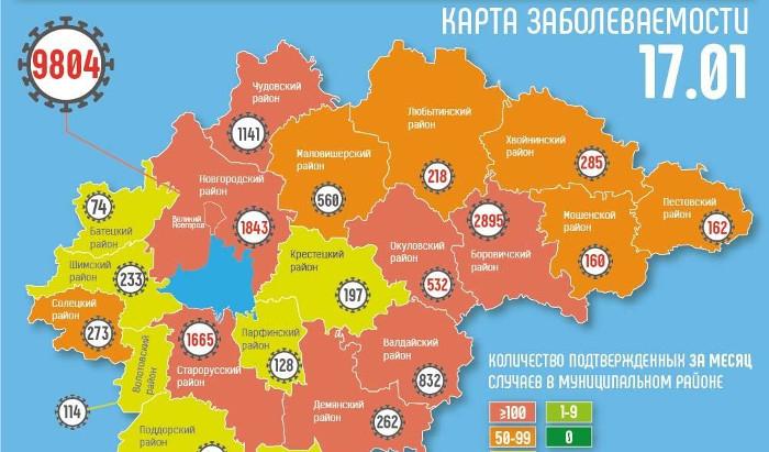 За последние сутки случаи COVID-19 в основном отмечали в Великом Новгороде и на востоке региона