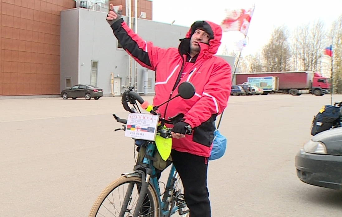 Грузин на велосипеде доехал из Владивостока в Великий Новгород