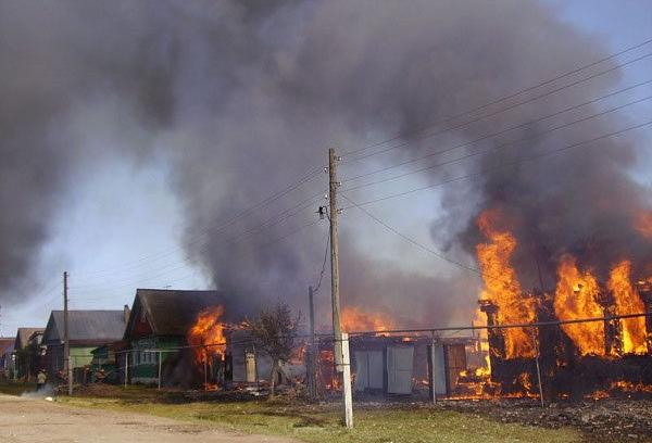 Вчера в Сольцах пожарные шесть часов боролись с огнём