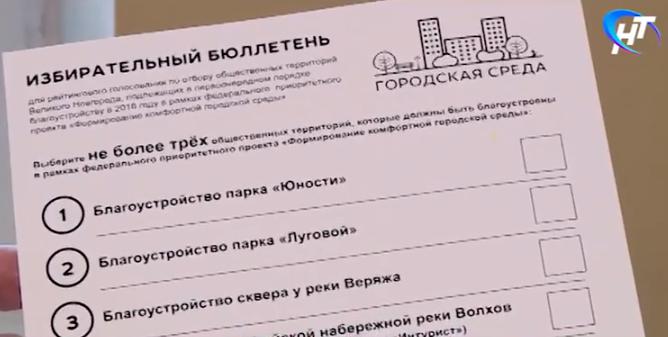 53 секунды: новгородцы выбирают территории для благоустройства