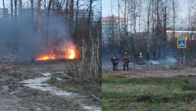 Было-стало: в Великом Новгороде пожарные не дали огню перекинуться на лес