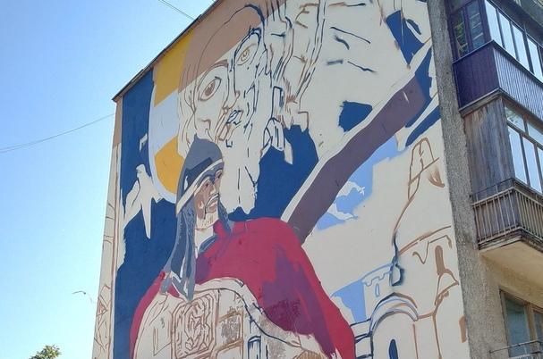 Монументальный «Невский» от новгородских художников будет наблюдать с высоты четвертого этажа