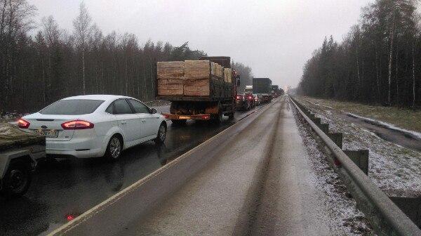 В Новгородской области затруднено движение по М-10 в сторону Санкт-Петербурга
