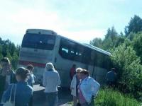 В Пестове автобус вылетел с дороги