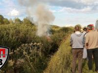На Сырковском шоссе загорелась автомашина после столкновения