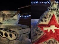 К 23 февраля в Боровичах появился снежный танк