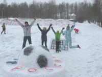 В Боровичах появился снежный мяч в честь Чемпионата мира по футболу