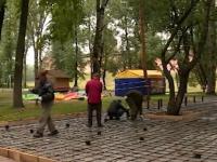 В Кремлёвском парке строят площадку для воркаута (видео)