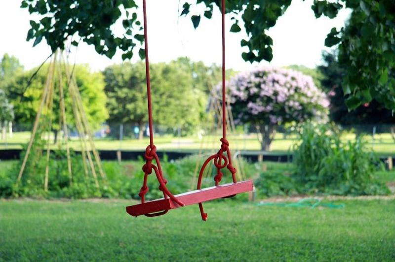В Сольцах детская площадка находится в 15 метрах от трассы