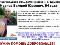 В Демянске просят помощи волонтеров, чтобы найти 54-летнего мужчину