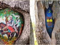 Чудовские художники красочно оформили дупла деревьев в местном парке