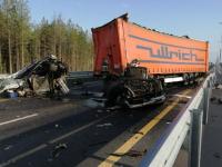 Фотофакт: кабина грузовика развалилась при столкновении на трассе М-11